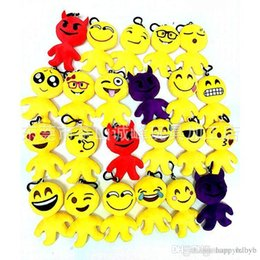 $enCountryForm.capitalKeyWord Australia - 20 Style 10cm QQ Emoji Smiley Pillow Small Plush Doll Keychain Pendant Emotion Yellow Expression Stuffed Toys