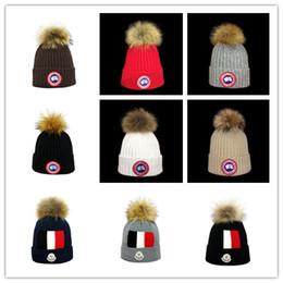 Skull Cap Ball Australia - Winter brand goose CANADA men beanie Fashion Designer Bonnet women Valentine's day gift Casual knitting skull caps hair ball outdoor hats