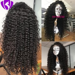 blue wig high quality NZ - Fast Shipping High Quality Black Long Kinky Curly Wigs with Baby Hair Heat Resistant Glueless Synthetic Lace Front Wigs for Black Women