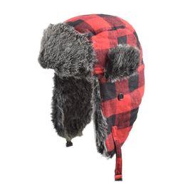 Venta al por mayor de A cuadros Trapper sombreros de invierno al aire libre de esquí Cap revestimiento de felpa gruesa caliente Earflap Caps Hunter Nieve Sombreros OOA7514