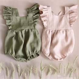 $enCountryForm.capitalKeyWord Australia - New Designs Summer Toddler Baby Girls Rompers Linen Cotton Ruffles Sleeveless Square Collar Blank Jumpsuit Kids Bodysuit Baby Romper 3-18M