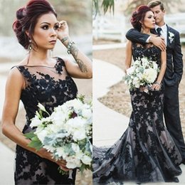 $enCountryForm.capitalKeyWord NZ - Vintage Black Mermaid Wedding Dresses Full Lace Applique Gothic Sheer Jewel Neckline Lace Up Back Long Bridal Gowns Custom Made Plus Size