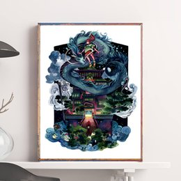 Painting Faces NZ - Ghost Town Spirited Away Poster No Face Miyazaki Painting On Canvas Bedroom Wall Art Decoration Pictures Home Kids Room Decor