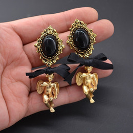 pearl popping 2020 - Fashion-New Euramerican Palace Vintage Pop Baroque Style Brand Jewelry Lace Bow Angel Cross Pearl Earrings Pendientes Wo