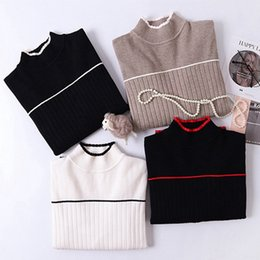 $enCountryForm.capitalKeyWord NZ - High Quality Thick Striped Women Sweater Color Block Ribbed Knitted Pullover jumper Autumn Winter Warm Female Sweater C18121701