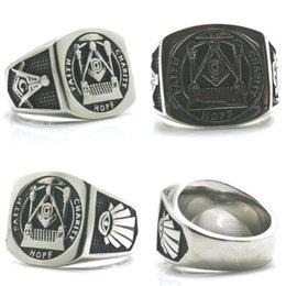 Freemason Rings Wholesale Australia - Male 316L Stainless Steel Retro Punk Gothic Freemason Cool Ring Size 7-15 Silver