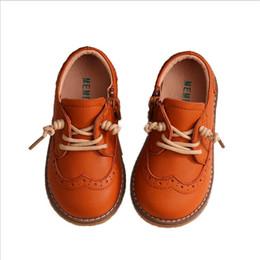 Toddler Black Girls Dress Shoes Australia - Baby Toddler Boy Girl Genuine Leather Oxfords Leather Shoes Little Kid Lace Up Children Fashion England Black Formal Dress Shoes