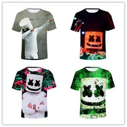 Discount streetwear t shirt brands - Mens designer T-shirt Marshmello 3D T Shirt DJ Music Cotton Tshirts Men Women Hip-pop Tees Streetwear Casual Summer Tops