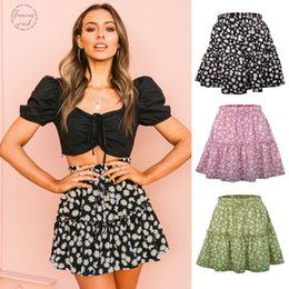 green net skirt Canada - Hot Sale In 2020 Summer Popular Women Floral Short Skirt Net Red Small Daisy Print Wrinkling Skirt Cute Sweet Girls Dance Skirts