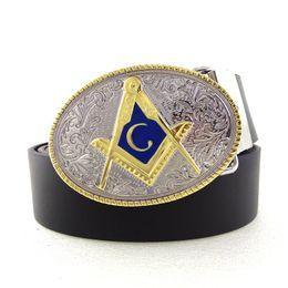 defcd2aced03 New Arrival Silver Gold Free Mason Men Belt Letter Cowboy Belt Buckle Metal  Mens Fashion Leather Belts For Jeans