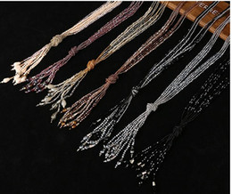$enCountryForm.capitalKeyWord Canada - Europe fashion joker rice bead crystal necklace Vintage multi tassel necklace sweater chain necklace for women