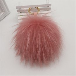 "$enCountryForm.capitalKeyWord Australia - 15cm 6"" Pink Real Raccoon Fur Pompom Ball Charm Key Chain Keyring Accessories Phone Purse Handbag(Can Accept Custom)"
