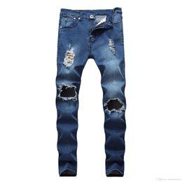 Denim Pants Men Skinny NZ - Wholesale- Fashion Men Straight Slim Pants Denim Jean Pants Ripped Skinny Trousers New Men's Jeans Clothes