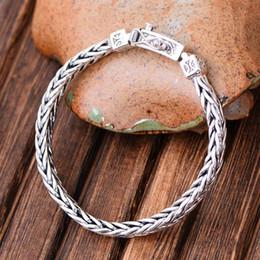 $enCountryForm.capitalKeyWord Australia - Wholesale Retro Handmade Fashion Jewelry Rhodium Plated 925 Sterling Silver Chunky Wheat Chain Bracelet for Men