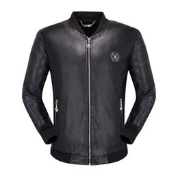 China Winter leather coat male lamb fur collar short section Korean version of the motorcycle clothing PU leather jacket thickening trend lapel ja supplier rivet motorcycle clothing suppliers