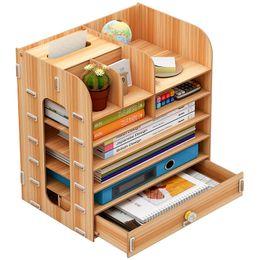 Bar Books Australia - Desktop storage box wooden office multi-layer file rack creative office supplies file bar book organizer mx01251517