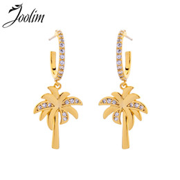 $enCountryForm.capitalKeyWord UK - JOOLIM Jewelry  Light Yellow Gold Color Coconut Tree Drop Earrings for Women 2019 Earrings