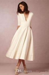 Ruffled long cheap wedding dResses online shopping - BHLDN Tea length Cheap Wedding Dresses Under Deep V Neck A Line White Long Sleeve Wedding Dress Short Vestidos de Novia
