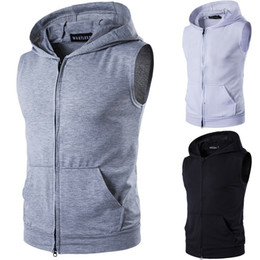 Plain Vests NZ - Mens Slim Fit Sleeveless Shirts Hooded Zipper Plain Color Muscle Tops Hoodie Casual Basic Vests Thin Jacket