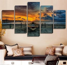painting clouds Australia - Sunset Amazing Sea Clouds Nature,5 Pieces Home Decor HD Printed Modern Art Painting on Canvas (Unframed Framed)