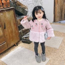 4f06fad5 Korean Kids Faux Fur Coats High Quality Winter Warm Pink Beige Cherry  Thicken Outwear Children Clothing Zipper Cardigan 2-8Years