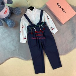 $enCountryForm.capitalKeyWord Australia - sets strap trousers Girls kids designer clothing white shirt + fashion bib 2pcs autumn new cotton thin section sets