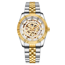 chenxi gold Australia - CHENXI Mechanical Automatic Watches Gold Bezel Luminous Pointer Skeleton Hollowout Wristwatch Stainless Steel Buckle Clock for Men
