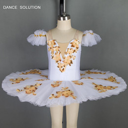 $enCountryForm.capitalKeyWord Australia - White Spandex with Gold applique Dance Costume Stage Performance Pre-professional Ballet Tutu Girl & Women.