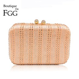 peach dress clutch bag Australia - Boutique De Fgg Champagne&clear Striped Women Crystal Clutch Evening Bag Wedding Party Cocktail Rhinestone Metal Handbag Purse Y19061301
