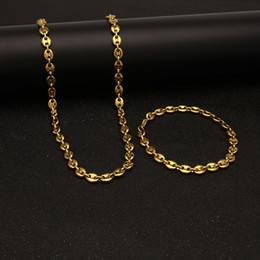 Wholesale Gold silver Chain mens Necklace chains Hip Hop hiphop Jewelry Set Stainless Steel Coffee Bean chain Men necklaces Bracelet bracelets