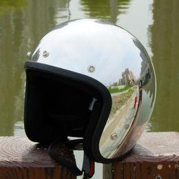 $enCountryForm.capitalKeyWord NZ - Hot sale 2016 new brand Silver Chrome Mirror cascos capacete vintage motorcycle helmet jet scooter open face retro helmets DOT