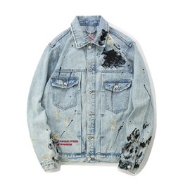 China Fashion Light Blue Mens Denim Jackets Letter Embroidery Splashed Broken Jean Jacket Free Shipping Street Style Outfits cheap single breasted jeans suppliers