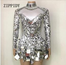 Moda Lantejoulas Bodysuit Vestido Traje de Aniversário das Mulheres Comemore Festa Collant Feminino Outfit Desempenho