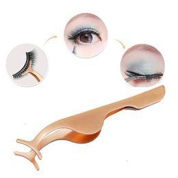 Clip False Eyelashes Australia - 1Pcs False Eyelash Tweezers Auxiliary Clip Clamp Fake Eye Lash Applicator Eyelash Extension Curler Nipper Makeup Forceps Tools