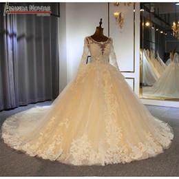 Luxury beading wedding dress with long sleeves amanda novias top brand bridal  dress 2019 b6b9e4ef8d8f