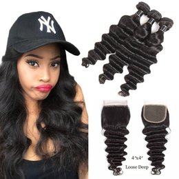 brazilian loose wave curly closure Australia - Loose Deep Kinky Curly Hair Bundles with 4x4 Lace Closure Brazilian hair lace closure with bundle Body Water Wave Straight Hair Extension