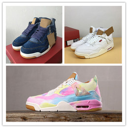 $enCountryForm.capitalKeyWord Australia - 4 Denim White Blue Rainbow game red new mens basketball shoes 4s Jeans mens sports designer Sneakers with box
