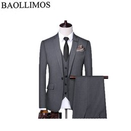 High Quality Dresses For Australia - Dress Suit Men 2019 Slim Fit 3 Piece Groom Wedding Suits For Men Black Gray Mens Business Suits High Quality suit