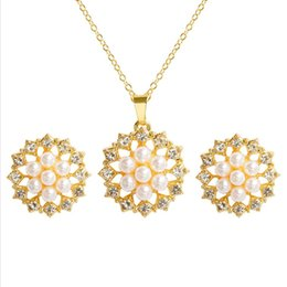 indian gold pearl necklace sets Canada - Wholesale 10 pcs Gold Plated Flower Imitation Pearl Pendant Link Chain Necklace Earrings Fashion Jewelry Sets
