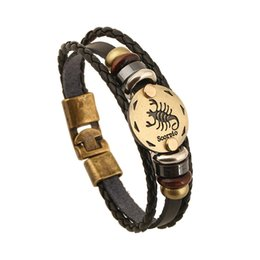 12 tv 2019 - NEW Punk Men Jewelry 12 Zodiac Signs Bracelet 12 Constellation Men Leo Scorpio women for Bracelets beaded Charm Leather