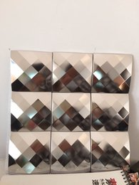 mosaic tile wall art NZ - 3D Art Metal Mosaic Square Stainless Steel Metallic Wall Tile Backsplash Rose Gold Silver Black Metal Wall Tile