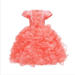 white wedding dresses for babies UK - New Arrival Wedding Dresses for Kids Short Sleeves Ruffled Pleated Organza Princess Tutu Gowns Baby Girls Clothes Age 1-10 Years old
