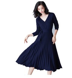 midi sweater UK - Woman Long Sleeve Pleated Sweater Midi Dresses Fashion Design A-Line Casual Style Ruched Under Knee Length Free Size Leisure Dress On Sale