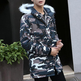 Discount 4xl men s parka Men Winter Plus Velvet Jackets Thick Warm Camo Print Parkas Zipper Hooded Long Jackets Loose Couple Clothes Plus Size Wa
