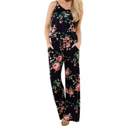 casual floral women jumpsuits UK - Summer Style Women Boho Long Jumpsuits Sexy Ladies Sleeveless Floral Printed Beach Rompers Womens Casual Playsuits Trousers #Ni
