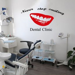 sticker cartoon smile UK - Dental Clinic Quote Wall Decal Dentist With Smile Dental Wall Stickers Teeth Clinic Removable Tooth Decor For Shop Window