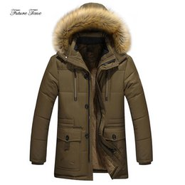 Discount plus size clothes europe - Men Parkas Winter Loose Plus Size Warm Cotton Clothing Europe And America Solid Fur Collar Hooded Outerwear Streetwear W
