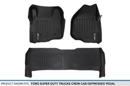 Ford Pedals NZ - Floor Mats 2 Row Liner Set Black for 2011-2012 Ford F-250   F-350   F-450   F-550 Super Duty Crew Cab with Depressed Drivers Side Pedal