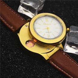 electronic rechargeable lighter 2020 - 2 In 1 Rechargeable Watch Lighter USB Charge Electronic Windproof Lighters Wearable Wrist Watches Cigarette Lighters Gif