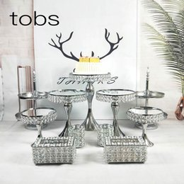 High Tea Party Decorations Australia - Wedding and Party Decoration crystal dessert display plate Tools Cupcake Set Party Mirror High Tea Cake Stand